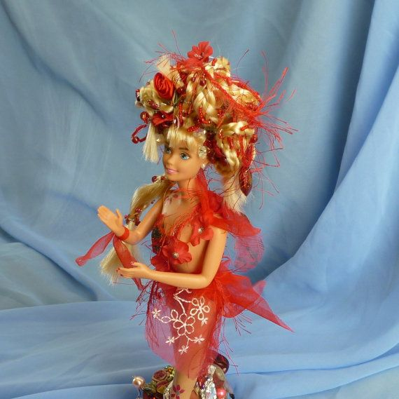 Red Nymph Doll Beaded Art Doll by mystic2awesome by mystic2awesome, at Etsy