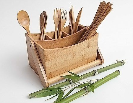 Bamboo Wooden Silverware Napkin Caddy w Handle Picnic Storage Organizer Holder   eBay & Bamboo wooden silverware napkin caddy w/ handle picnic storage ...