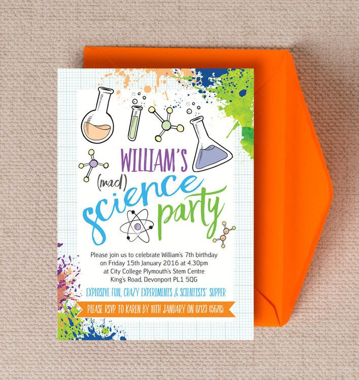 Mad Science Party Invitation Science Science party and Mad science