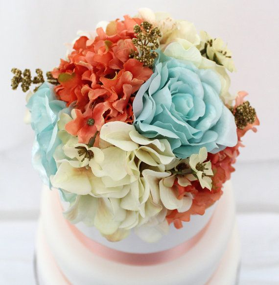 silk flowers for wedding cake toppers reserved for shannonmay12 coral ivory hydrangea silk 19838