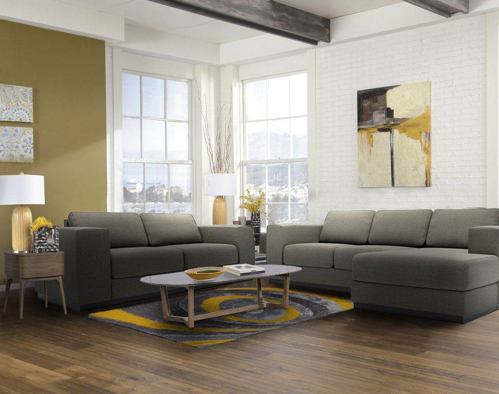 The stellan sofa and sectional are known for its thick cushions straight lines and modern design made in canada and fully customizable
