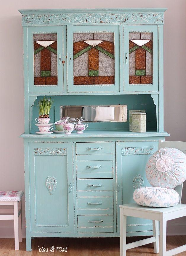 jugendstil k chenbuffet pale blue painted cabinet http. Black Bedroom Furniture Sets. Home Design Ideas
