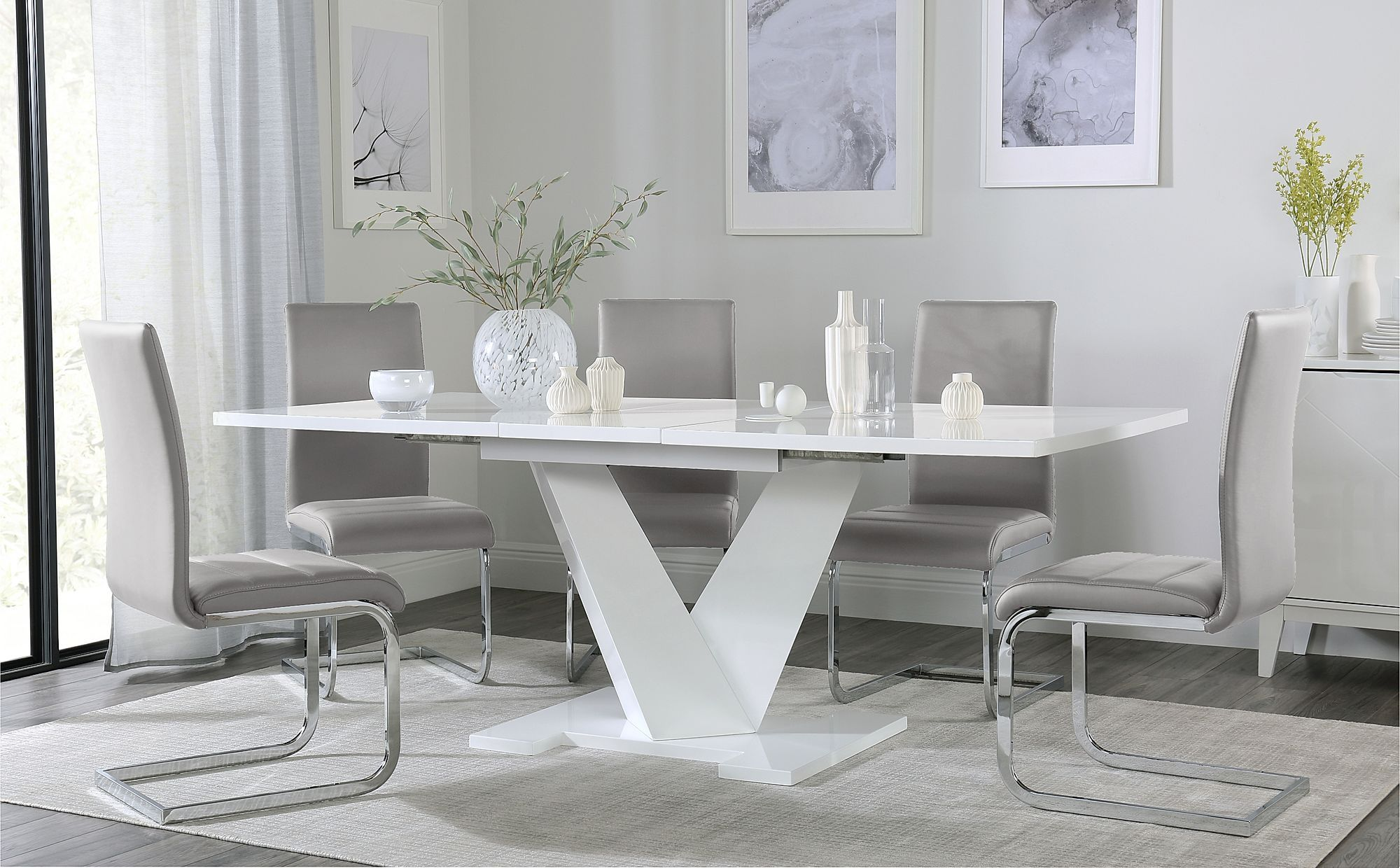 Turin White High Gloss Extending Dining Table With 6 Perth Light Grey Leather Chairs Furniture Cho White Dining Table White Dining Chairs White Leather Chair