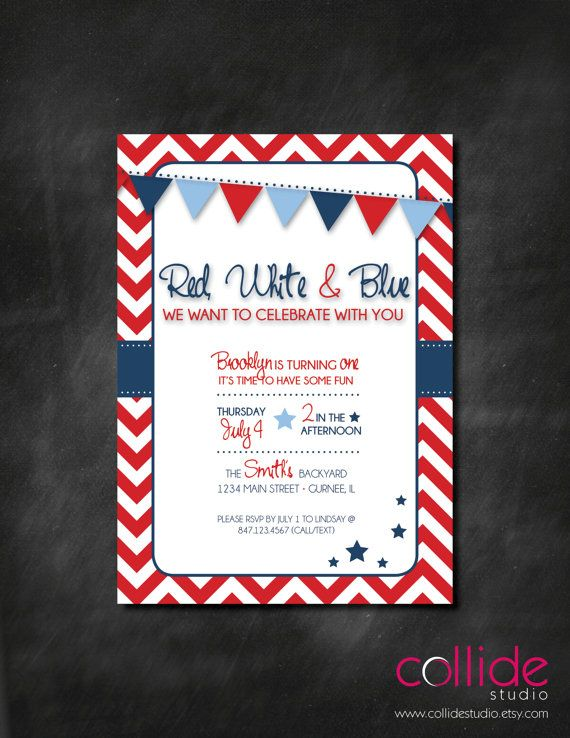 red white blue birthday party or bbq invitation by collidestudio