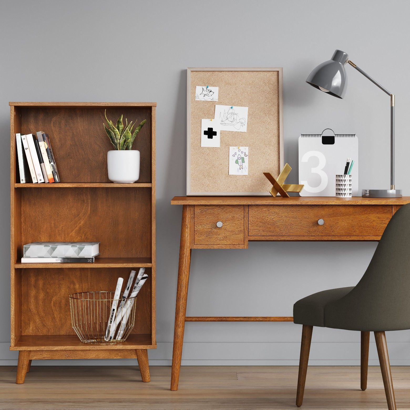 Bringing Modern Style To Your Space Is As Easy As Adding The Amherst Mid Century Modern Writing Desk Modern Mid Century Modern Office Writing Desk With Drawers