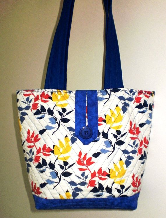 Crisp white and blue with colourful leaves small tote bag that has ...