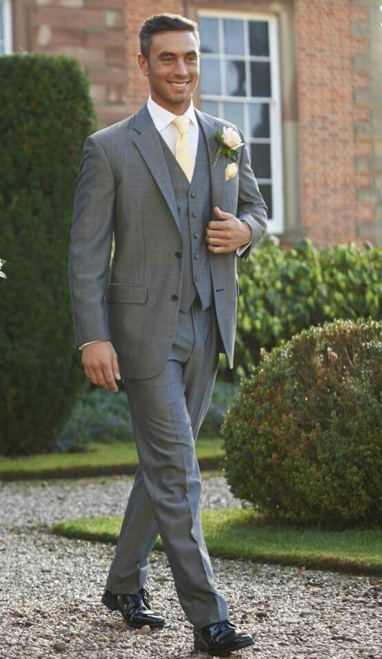 Men S 3 Piece Grey With Pale Yellow Grey Suit Wedding Wedding