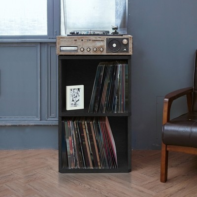 Storage & Media Accessories Latest Collection Of Eco 2-shelf Vinyl Lp Record Album Storage Cube Black Lifetime Guarantee