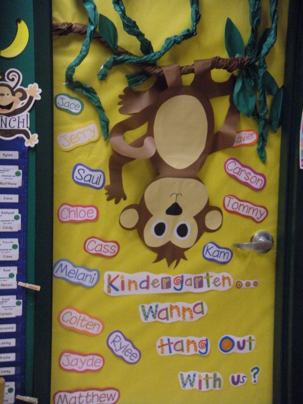 Monkey Classroom Decor ~ Monkey theme classroom our door welcome to kindergarten