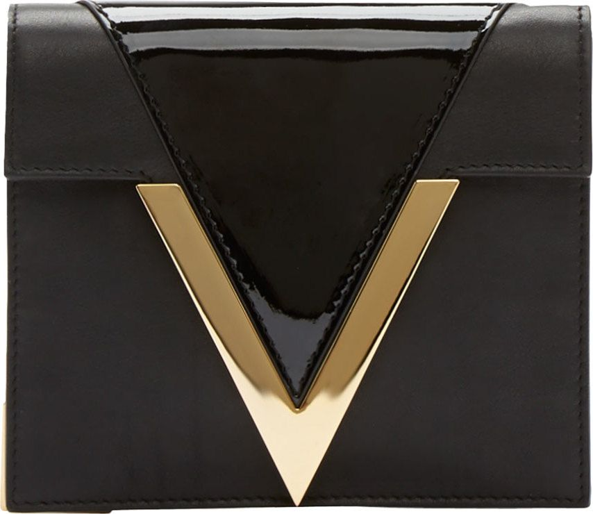 Versus - Black Leather Gold V Anthony Vaccarello Edition Clutch