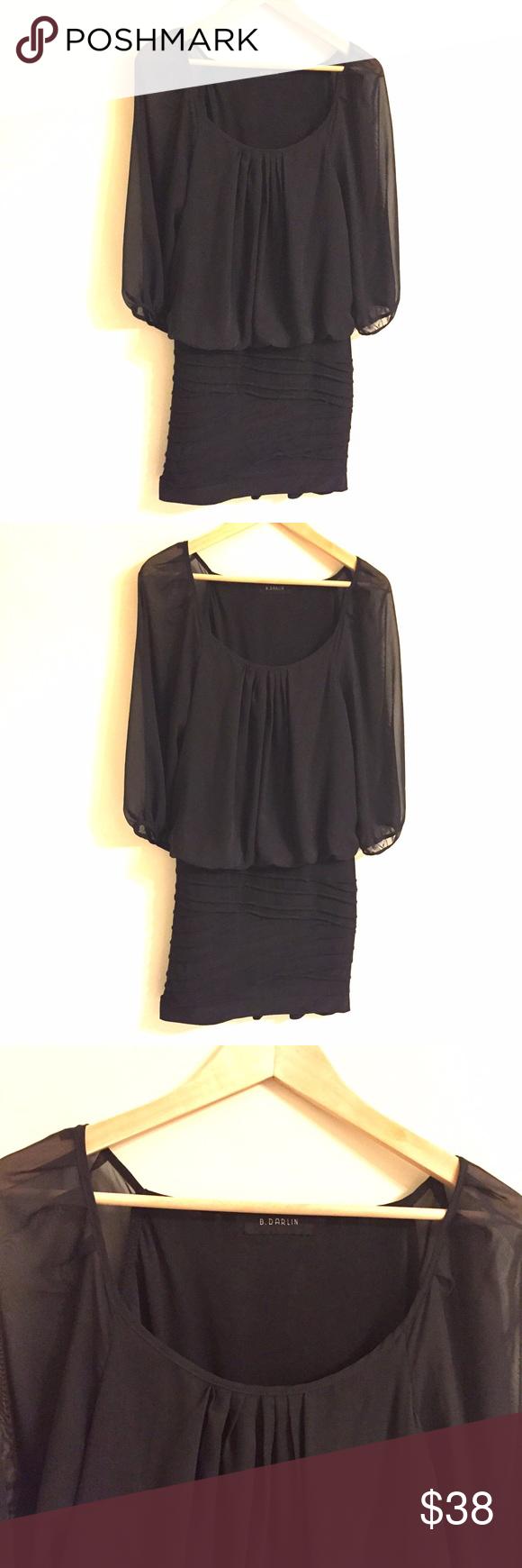 B darlin black lace dress  B Darlin Black Dress With Sheer Sleeves Large  Black