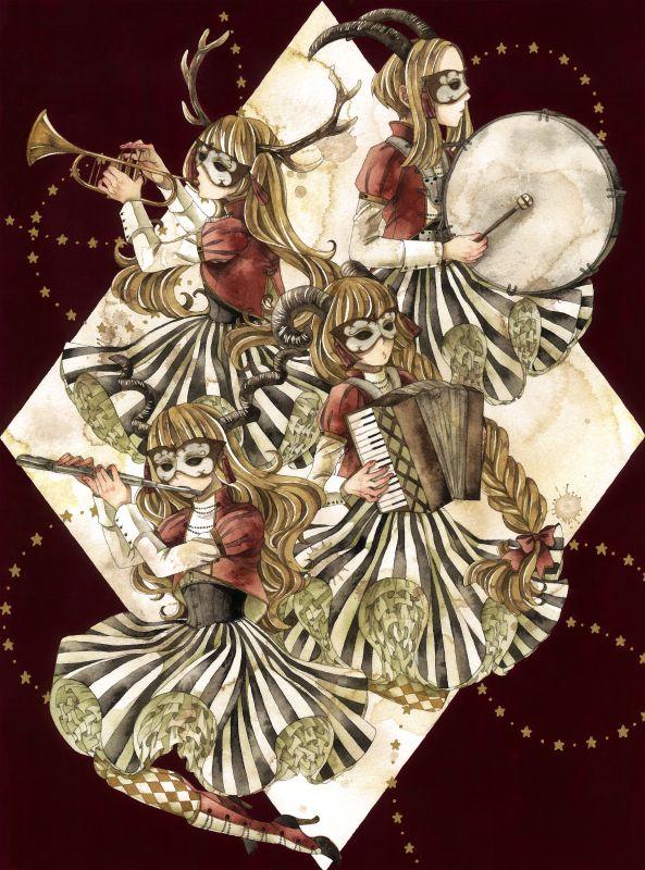 Machina  『ロスト・マーチ』 2014,10,04 320×240mm 透明水彩 アクリル ペン(金) ウォーターフォード水彩紙