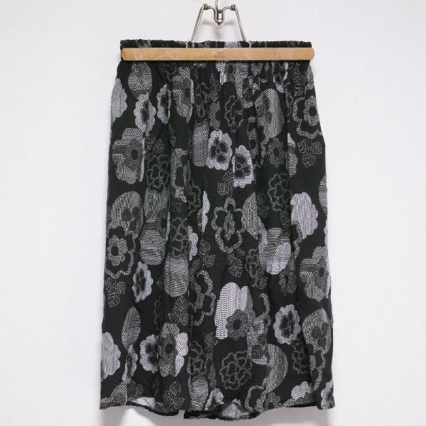 BLACK and WHITE FLOWER PATTERNED RAYON CULOTTES SKIRT Size: FREE Made in ITALY