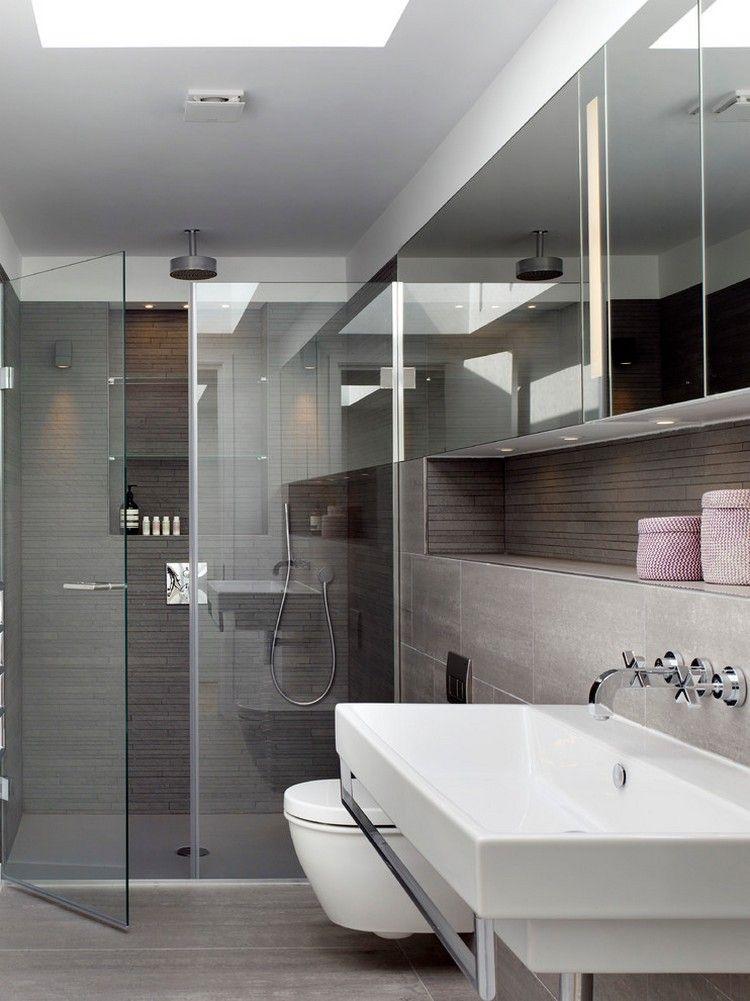 Kleines Bad Einrichten Graue Wand Bodenfliesen Begehbare Glasdusche