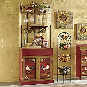 Red Rooster Bakers Rack Rooster Kitchen Decor Small Kitchen