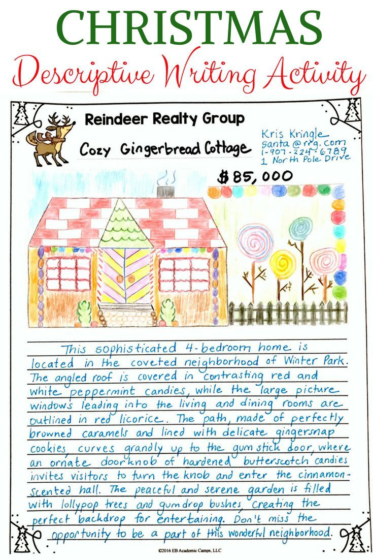 Christmas Descriptive Writing For Middle School Gingerbread