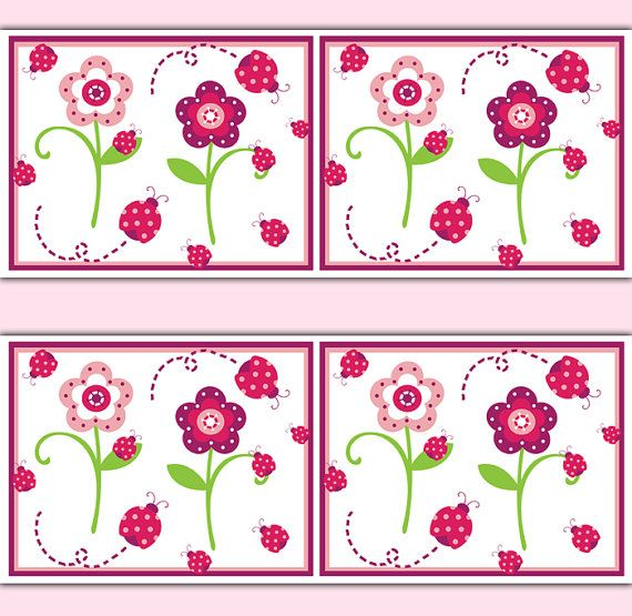 Best Ladybug Nursery Decal Wallpaper Border Wall Art Floral 640 x 480