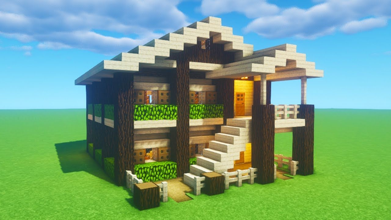 Minecraft Tutorial  How To Make A Birch Wooden Survival House 2020