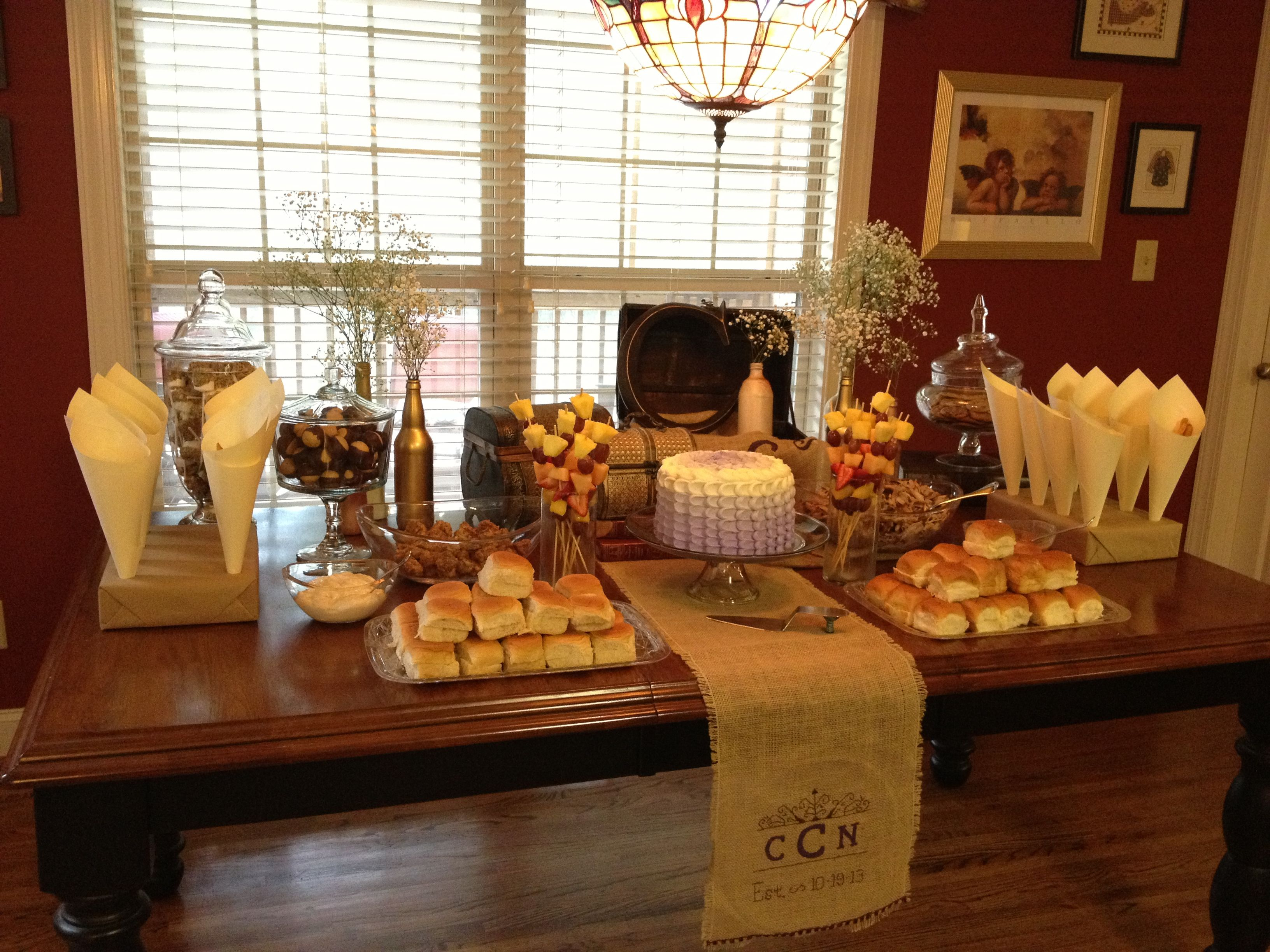 Food table display at a couple's shower or bridal shower