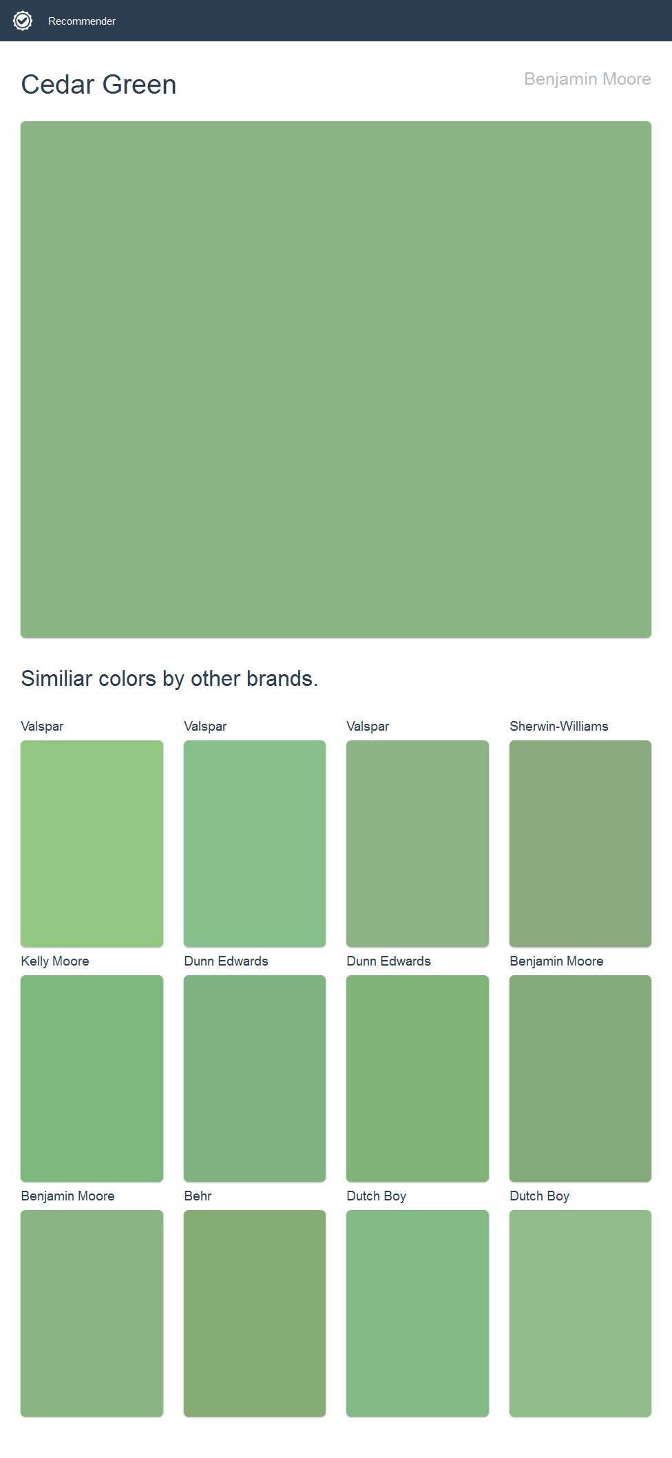 Cedar Green Benjamin Moore Click The Image To See Similiar Colors By Other Brands Dutch Boy Paint Ppg Paint Dutch Boy