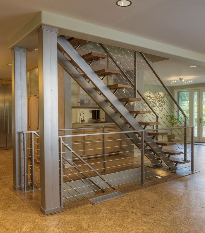 Custom dual stringer stainless steel floating straight Floating stairs