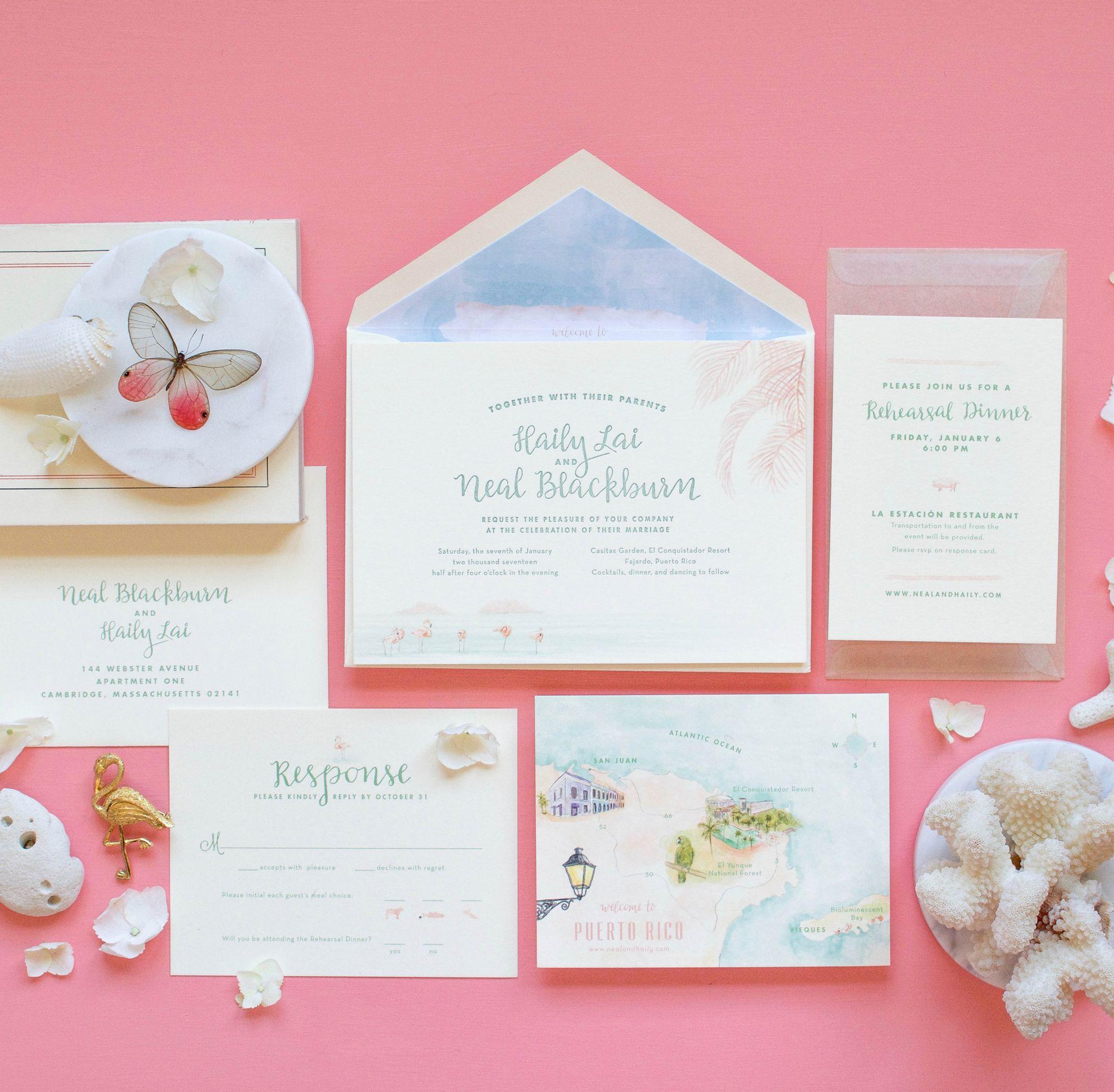 Puerto Rico watercolor wedding invitation with letterpress details ...