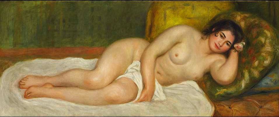 """https://flic.kr/p/ig15pi   Renoir, Pierre Auguste (1841-1919) - 1903 Femme nue Couchee, Gabrielle (Christie's New York, 2010)   Oil on canvas;    65.3 x 155.3 cm.  Pierre-Auguste Renoir was a French artist who was a leading painter in the development of the Impressionist style. As a celebrator of beauty, and especially feminine sensuality, it has been said that """"Renoir is the final representative of a tradition which runs directly from Rubens to Watteau.""""[1]  Pierre-Auguste was the fat"""
