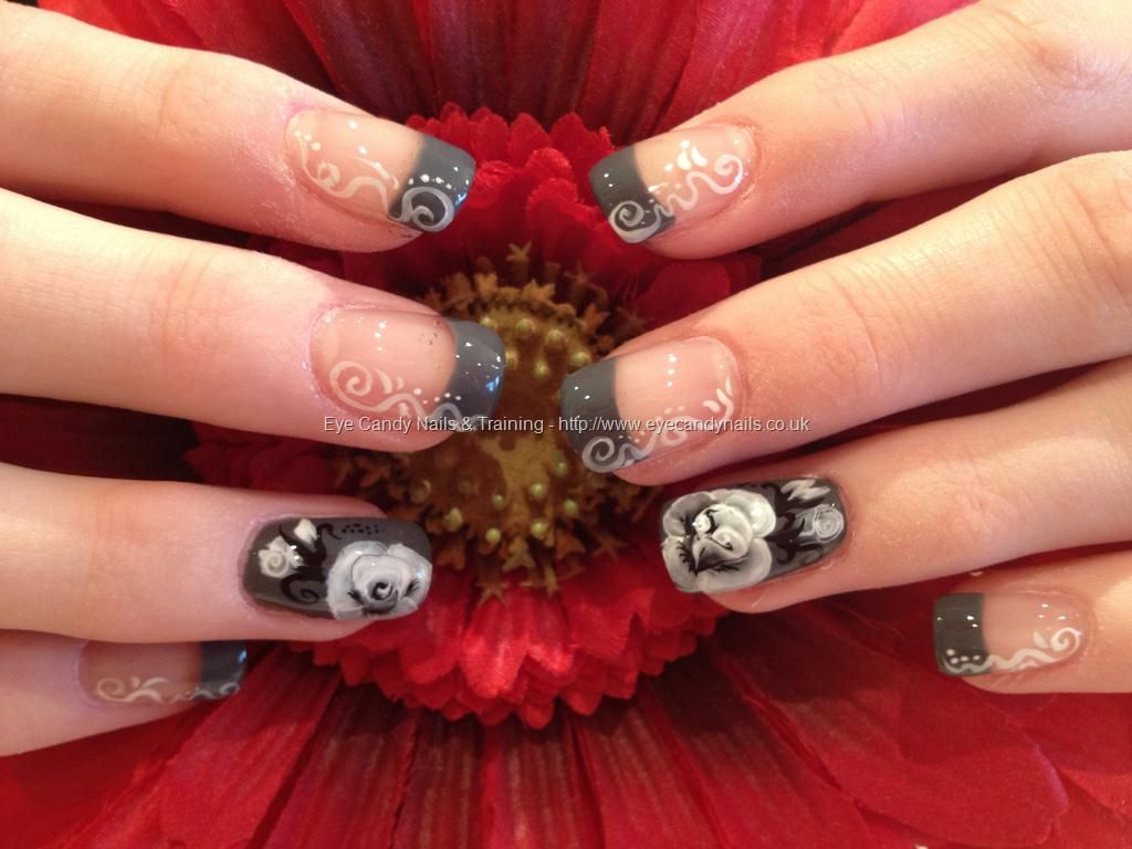 One Stroke Nail Art Black And White Floral Nail Design Nail Art