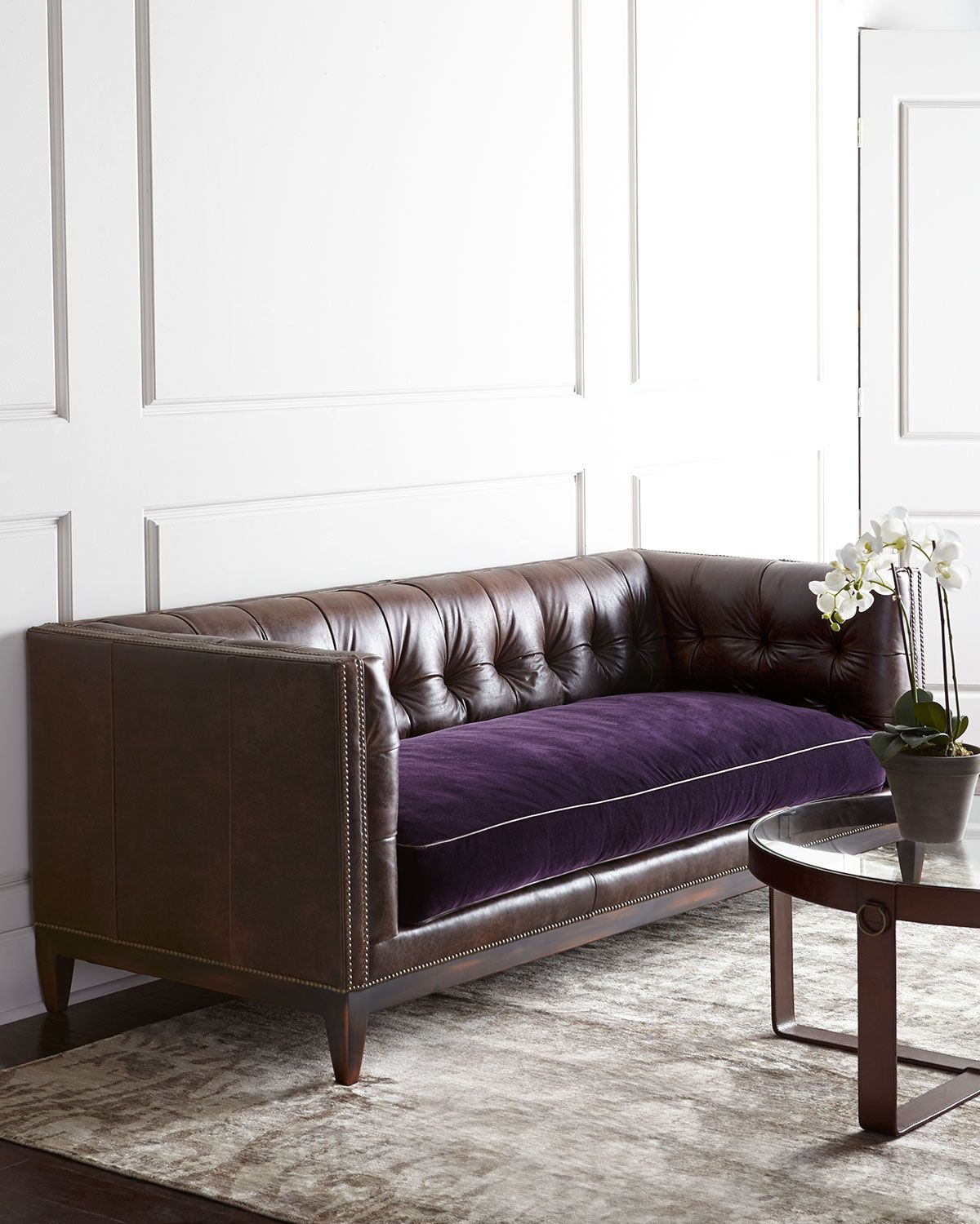 Old Hickory Tannery Mulberry Sofa Sofa, Modern cushions