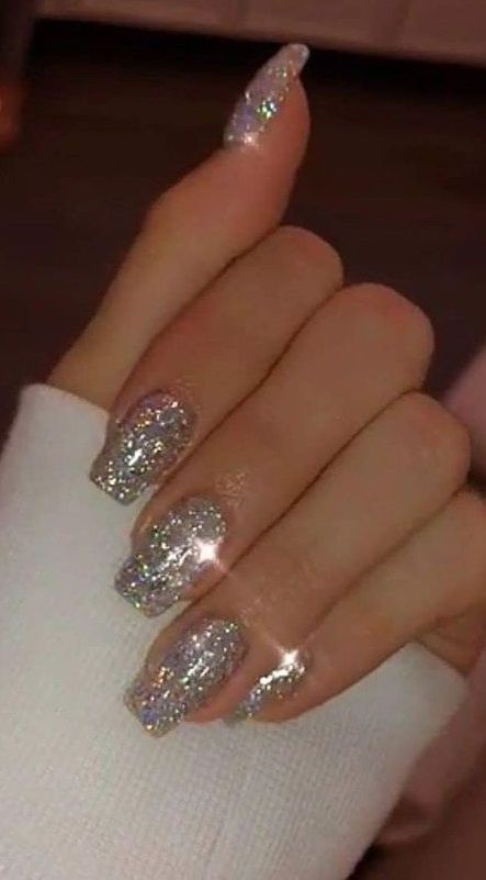 40 Inexpensive Glitter Nail Designs Ideas To Rock This Year Nail Designs Glitter Glitter Nails Acrylic Natural Acrylic Nails