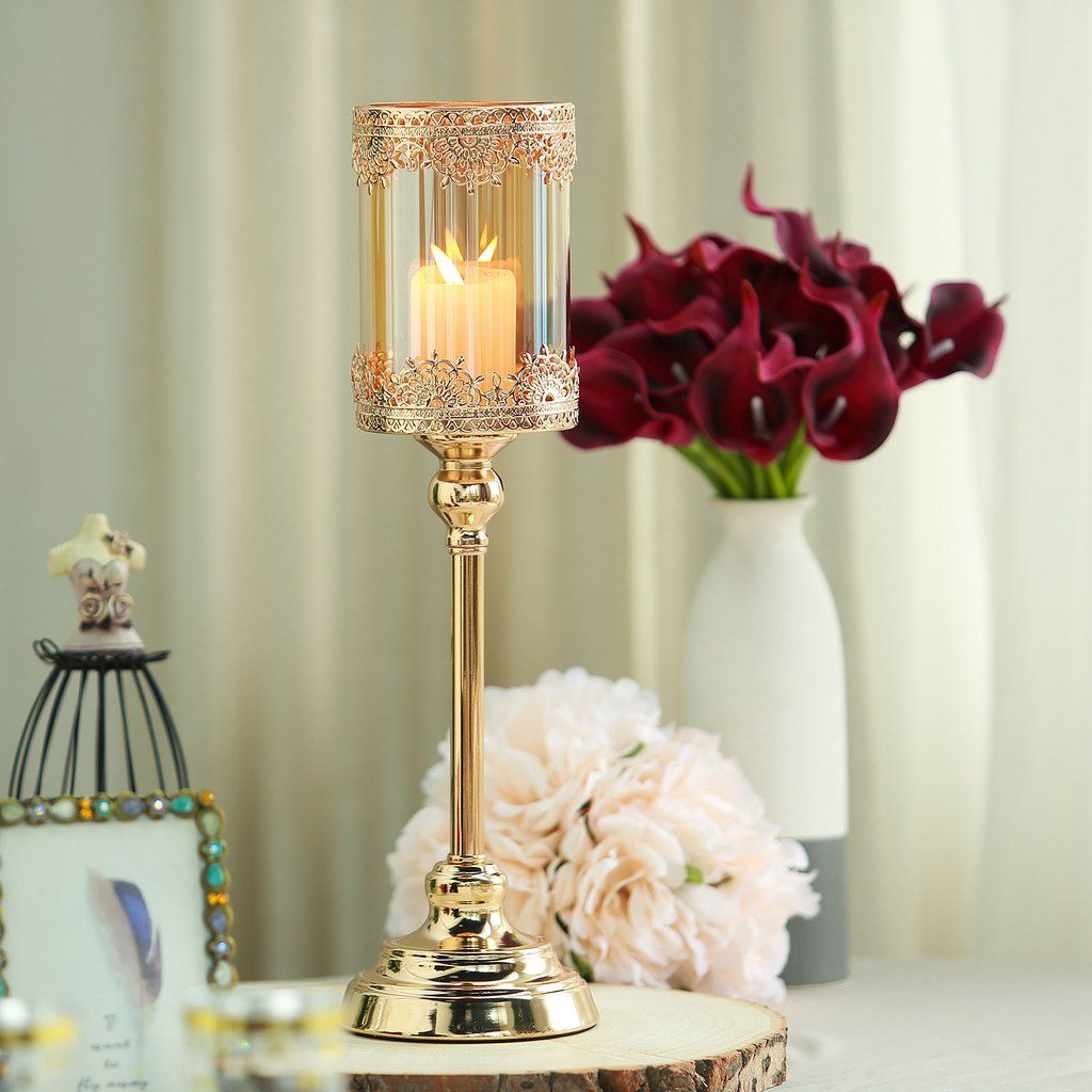 17 Tall Lace Design Gold Amber Hurricane Glass Candle Holder With Glass Tube Glass Hurricane Candle Holder Glass Candle Holders Candle Holders