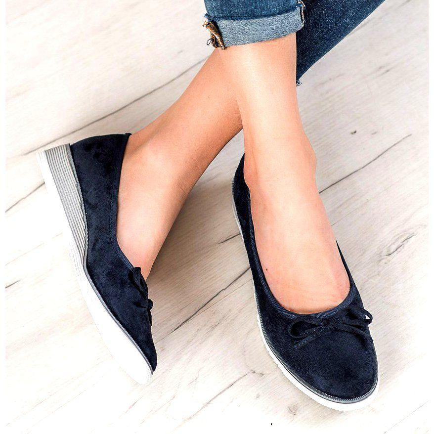 Goodin Baleriny Z Kokardka Niebieskie Slip On Sneaker Shoes Sneakers