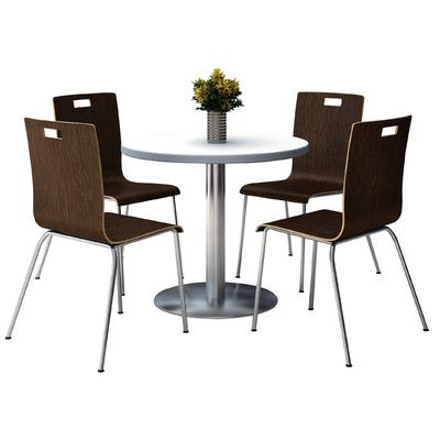 Kfi Seating Round Cafeteria Table And Chair Set Tabletop Color Grey Nebula Seat Color White Size 36 W X 36 D Cafeteria Table Table And Chair Sets Table
