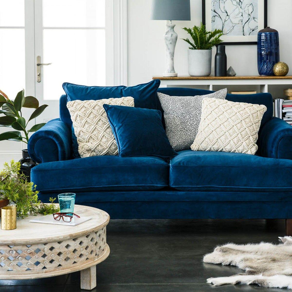 Lisette 3.5 Seater Sofa Indigo Velvet   Fabric Lounges   Upholstery