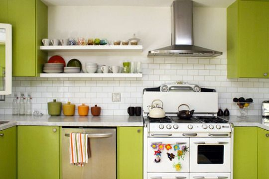 A White Green Kitchen With Pops Of Color Green Kitchen