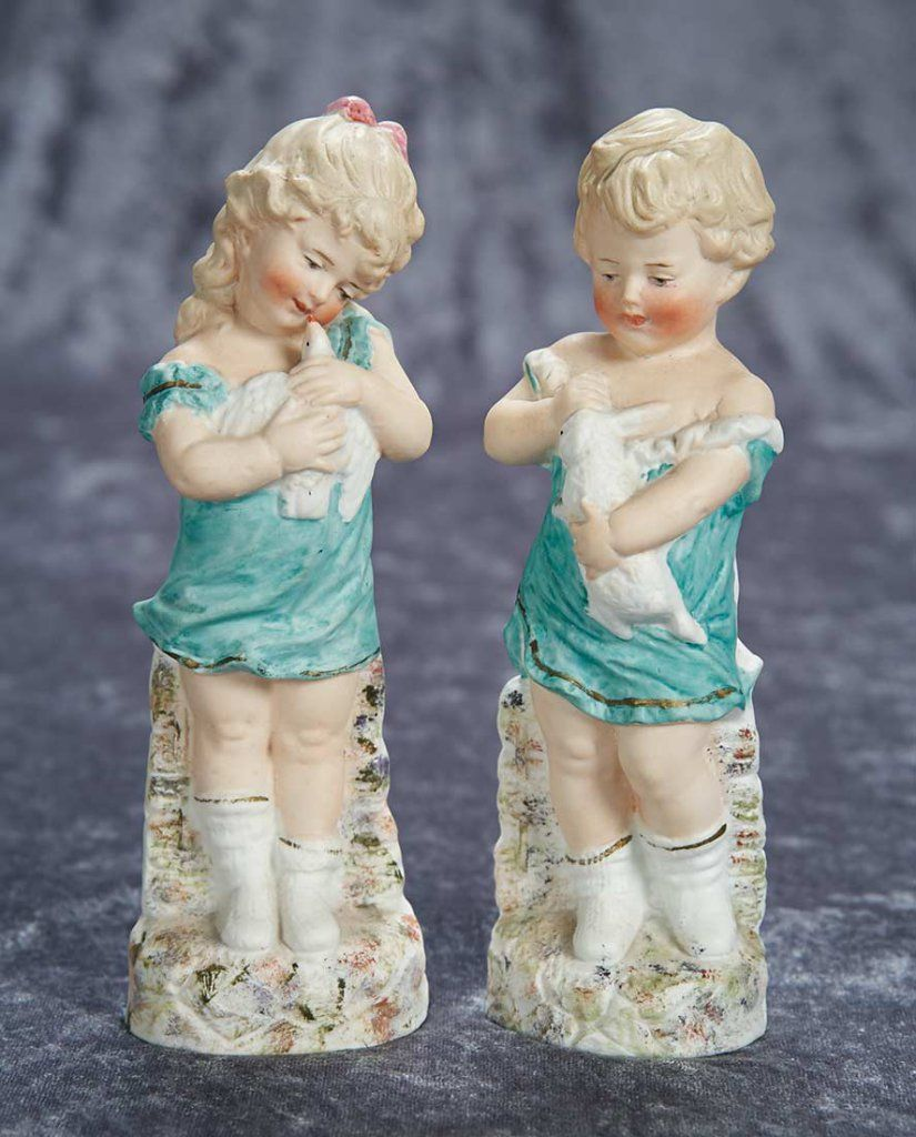 "8"" (20 cm.) Pair, German Bisque Figurines ""Best Friends"" by Gebruder Heubach 400/500"