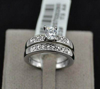 1ct Diamond Sterling Silver White GP Engagement Wedding Ring USA