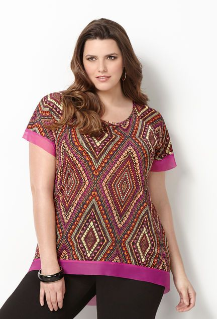 Layered Diamond Hi Lo Top-Plus Size Hi Lo Top-Avenue