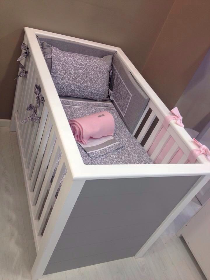 Cuna recta blanca y cabeceros en gris | Babyroom muebles by Babyroom ...