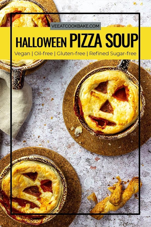 Vegan Pizza Soup for Halloween or other Parties Vegan Pizza Soup - a recipe for a vegan party soup. This vegetarian soup combines everything you love about pizza and a comforting dish for chilly summer or fall days. If you are missing the crust, serve it with italian pizza bread or on halloween with a puff pastry or shortbread crust jack o'lantern faces.