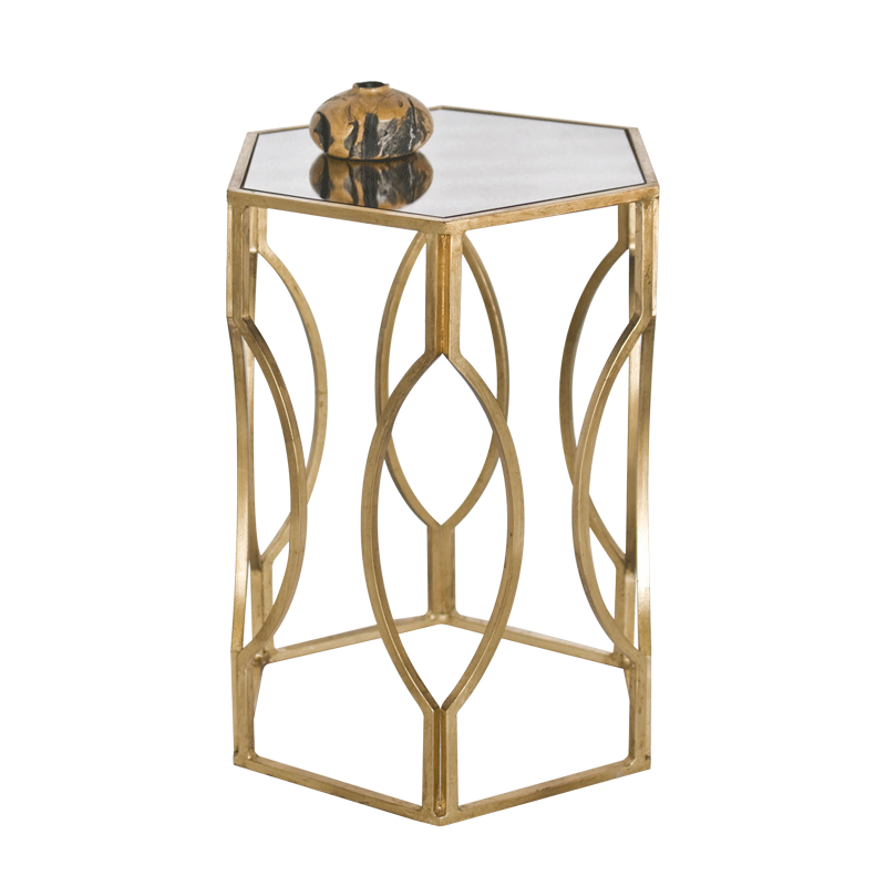 Good MORROCO G   Hexagonal Side Table In Gold Leaf With Antique Mirror Top.