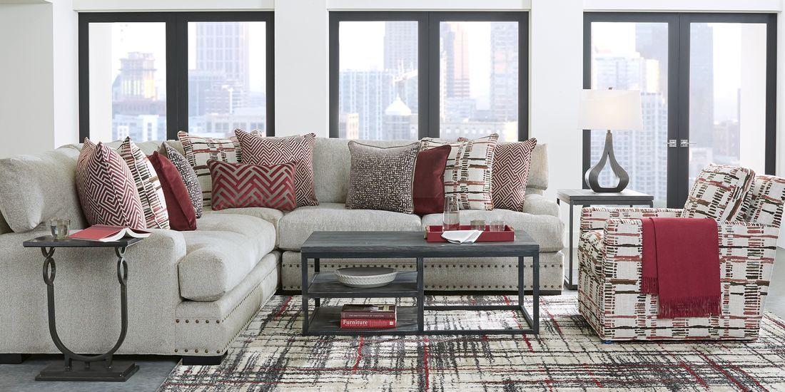 Cindy Crawford Home Tribeca Loft Beige 3 Pc Sectional Living Room Sets Furniture Living Room Sectional Sectional Living Room Sets #rooms #to #go #living #room #sectionals