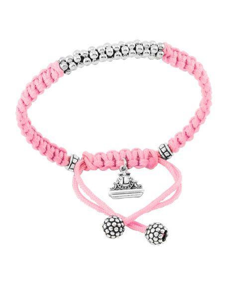 Kinder Sterling-Silver Macrame Bracelet, Pink