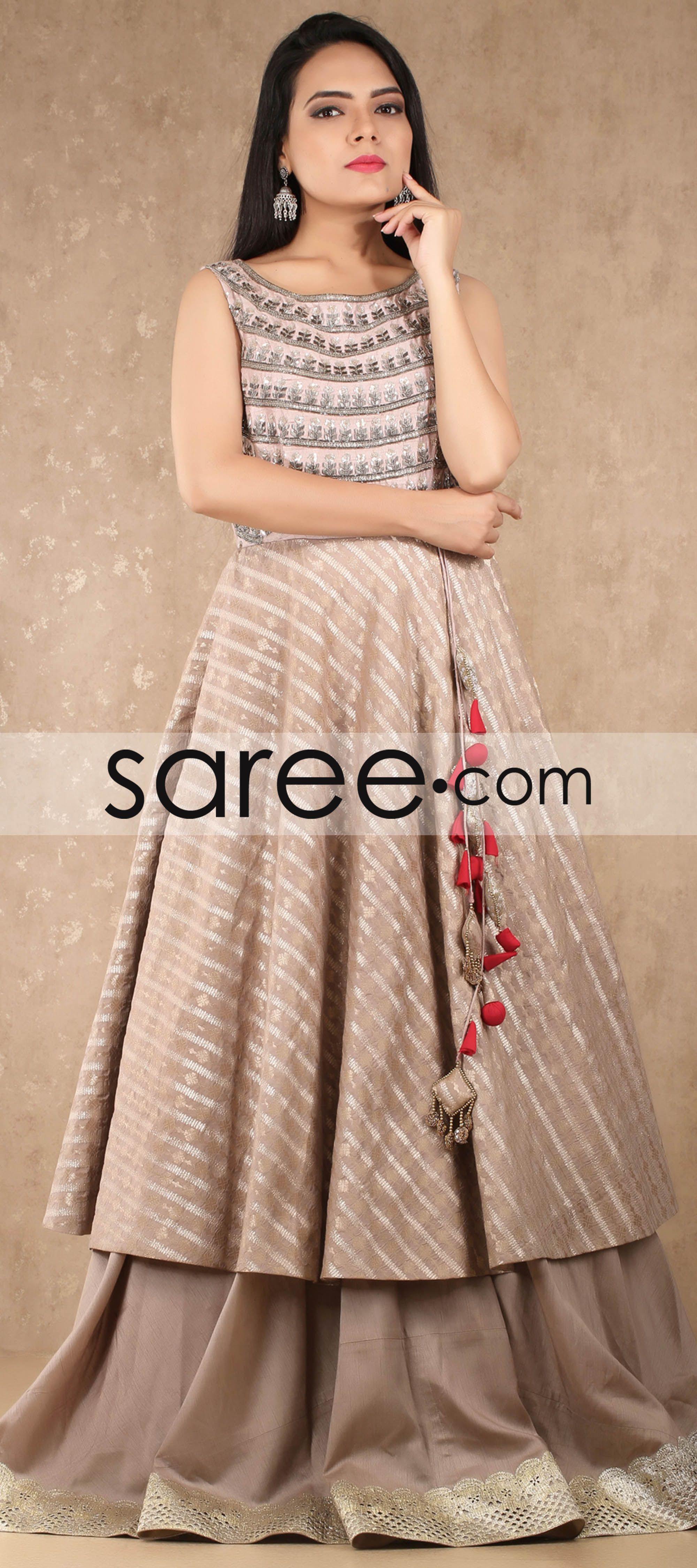 b8319c3b9 Beige Raw Silk Indo Western Gown