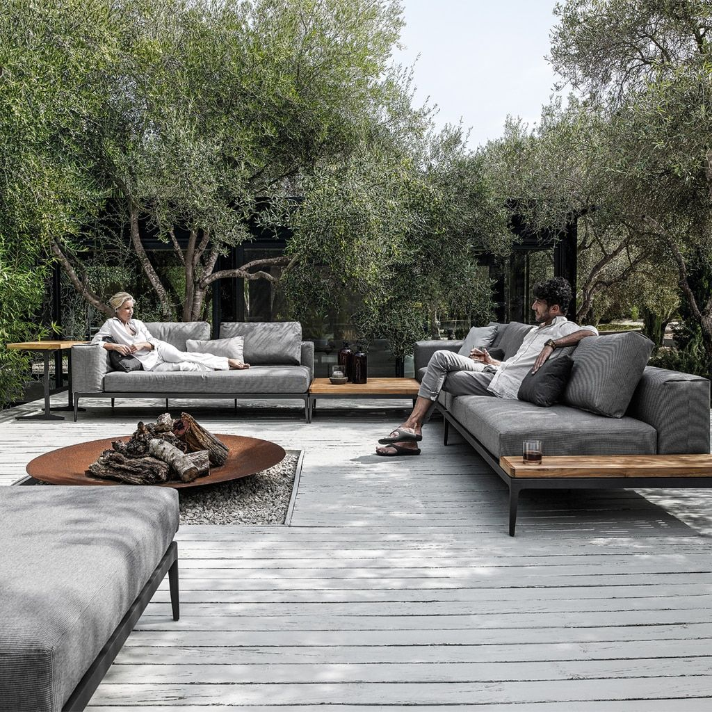 Gloster Grid Deep Seating Set is part of Unique outdoor spaces, Contemporary outdoor, Outdoor furniture sofa, Outdoor design, Garden sofa, Outdoor rooms - This set includes 2 Gloster Grid Left End Units, 1 Gloster Grid 19 5  x 31 5  Rectangular Side Table, 1 Gloster Grid 40 5  Square Coffee Table and