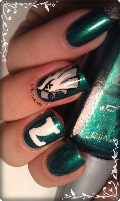 Devilishdesigns Eagles Football Nail Art With Images Eagles Football Nails Football Nails Football Nail Art