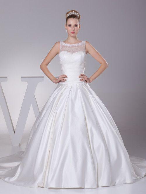 Sleeveless Bateau Neckline Luxury Satin Wedding Gown #ShopSimple ...