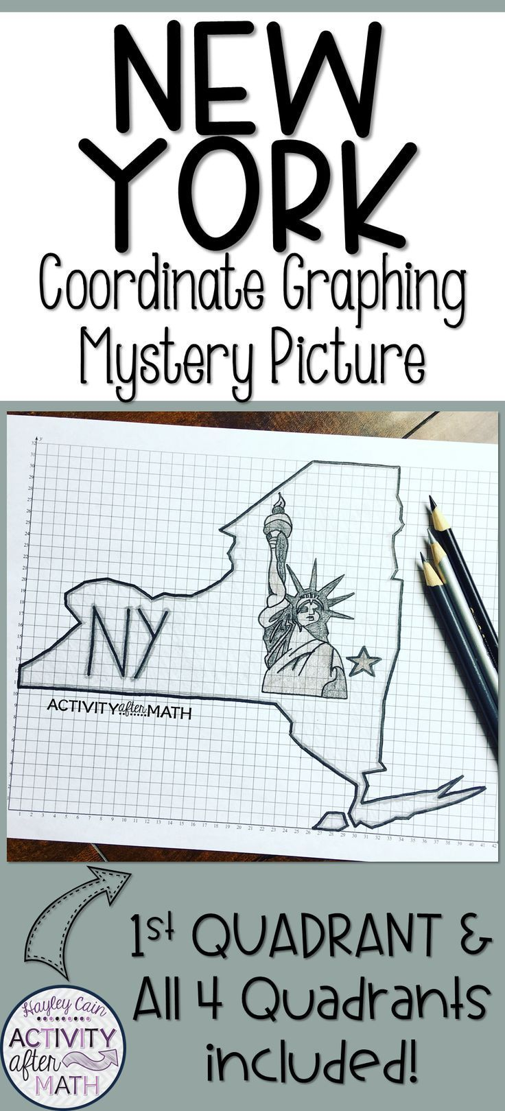 New York Coordinate Graphing Picture 1st Quadrant & ALL 4 Quadrants ...