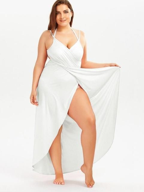 cbf0d26c2370 Gamiss 2017 Summer Sexy Plus Size 5XL Beach Wrap Cover Dress Long Split  Backless V Neck Maxi Casual Beach Dress Vestidos