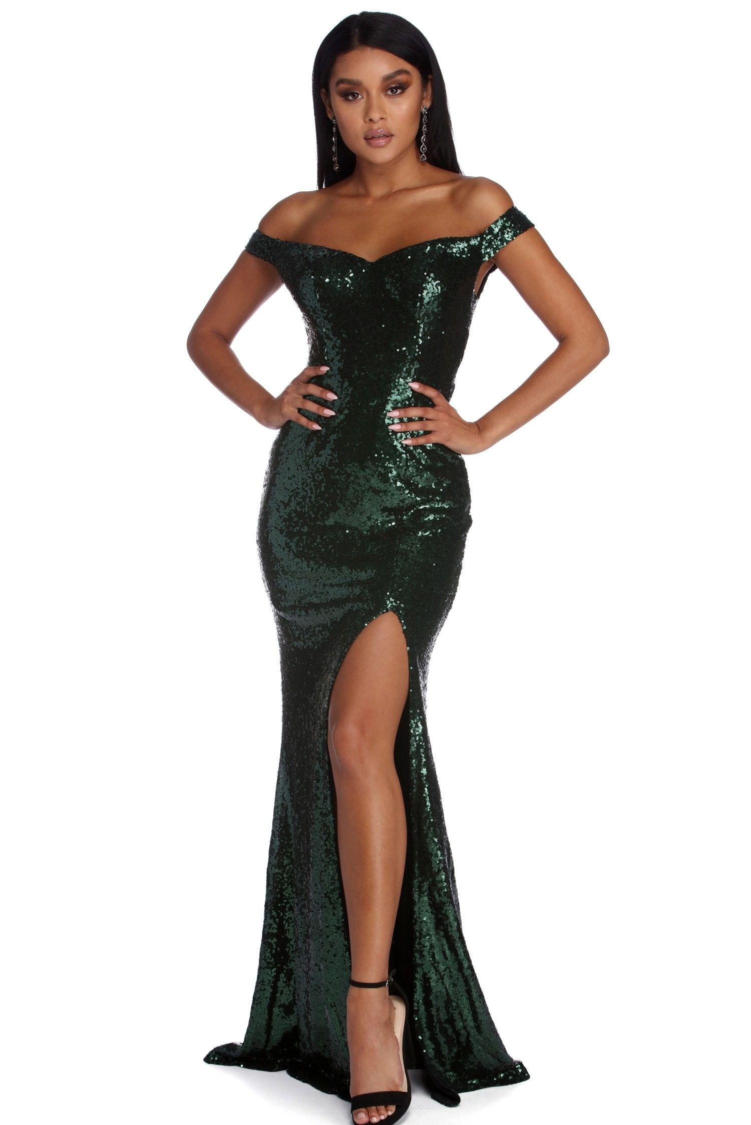 Akira formal affair sequin dress green sequin dress
